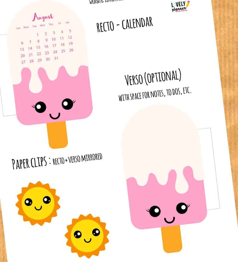 Cute Ice Cream Calendar Divider + Paperclip for your planner - Free Printable