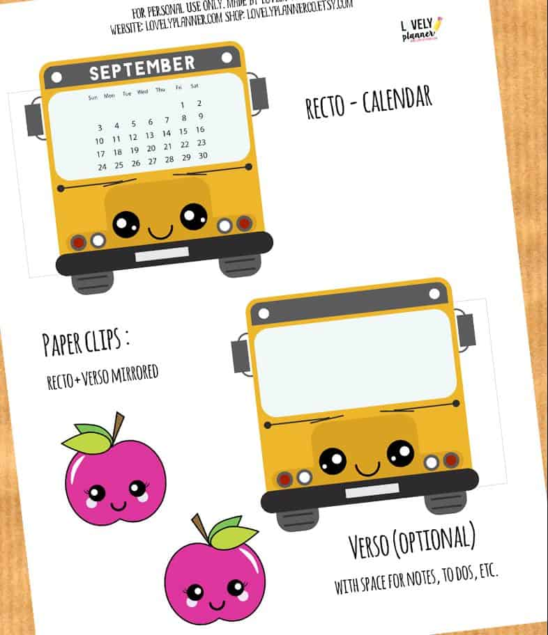 School Bus Calendar Divider + Paperclip for your planner