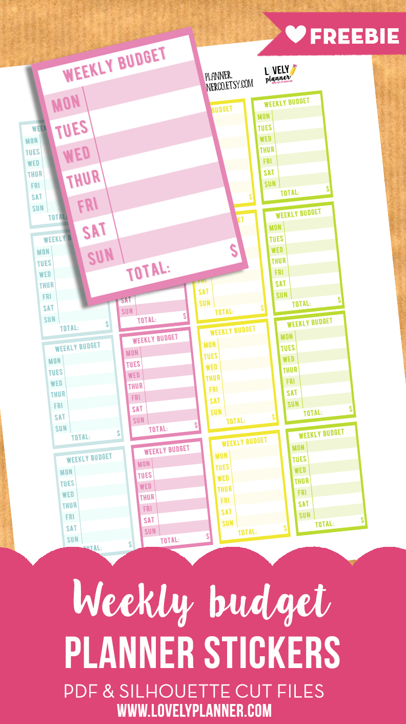 free weekly budget planner stickers printable cut file lovely
