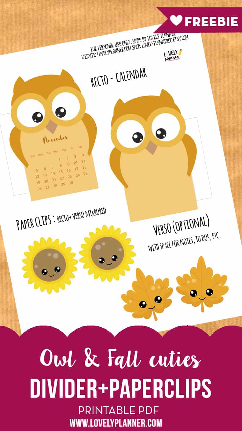 free owl calendar divider for your planner fall paperclips
