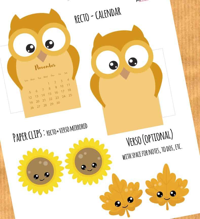 Free Owl Calendar Divider for your planner + Fall Paperclips