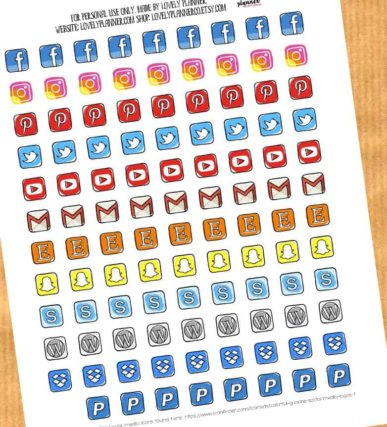 FREE Social Media Icons Planner Stickers - Lovely Planner