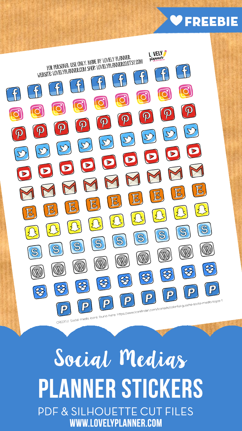 Free Social Media Icons Planner Stickers Lovely Planner