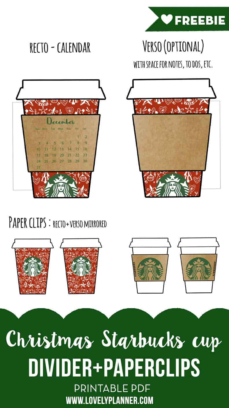 free printable christmas coffee cup planner divider