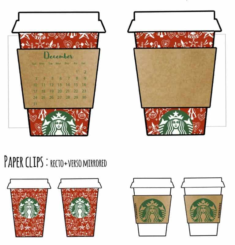 graphic relating to Starbucks Printable Application named Cost-free Xmas Starbucks Cup Calendar Divider (+undated