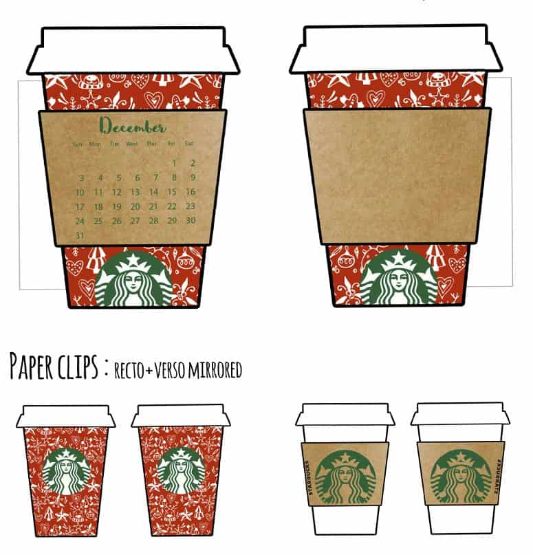 FREE Christmas Starbucks Cup Calendar Divider + Paperclips