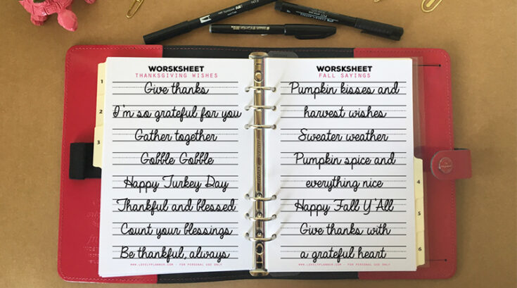 2 Free Fall & Thanksgiving Lettering Worksheets to celebrate my new Modern Script Lettering workbook