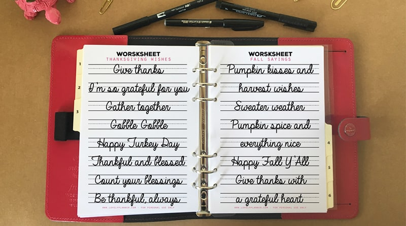 Free Lettering practice worksheets with fall and thanksgiving sayings, to celebrate the release of my new lettering practice workbook!