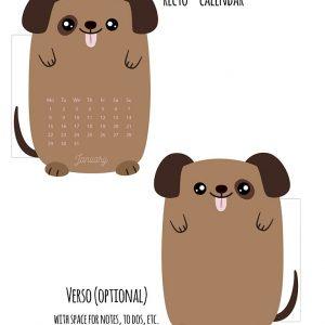 Cute Dog Planner Calendar Divider for January