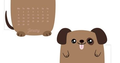 Cute Dog Planner Calendar Divider for January