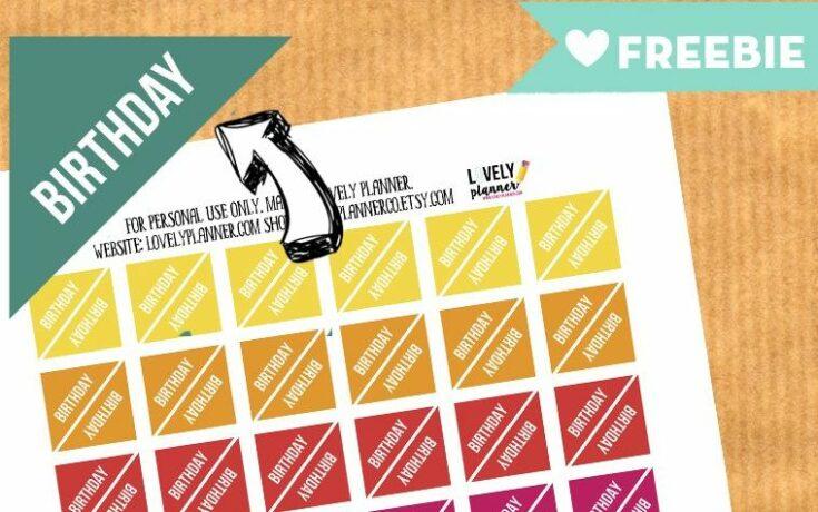 FREE Functional Planner Stickers : Birthday corner stickers