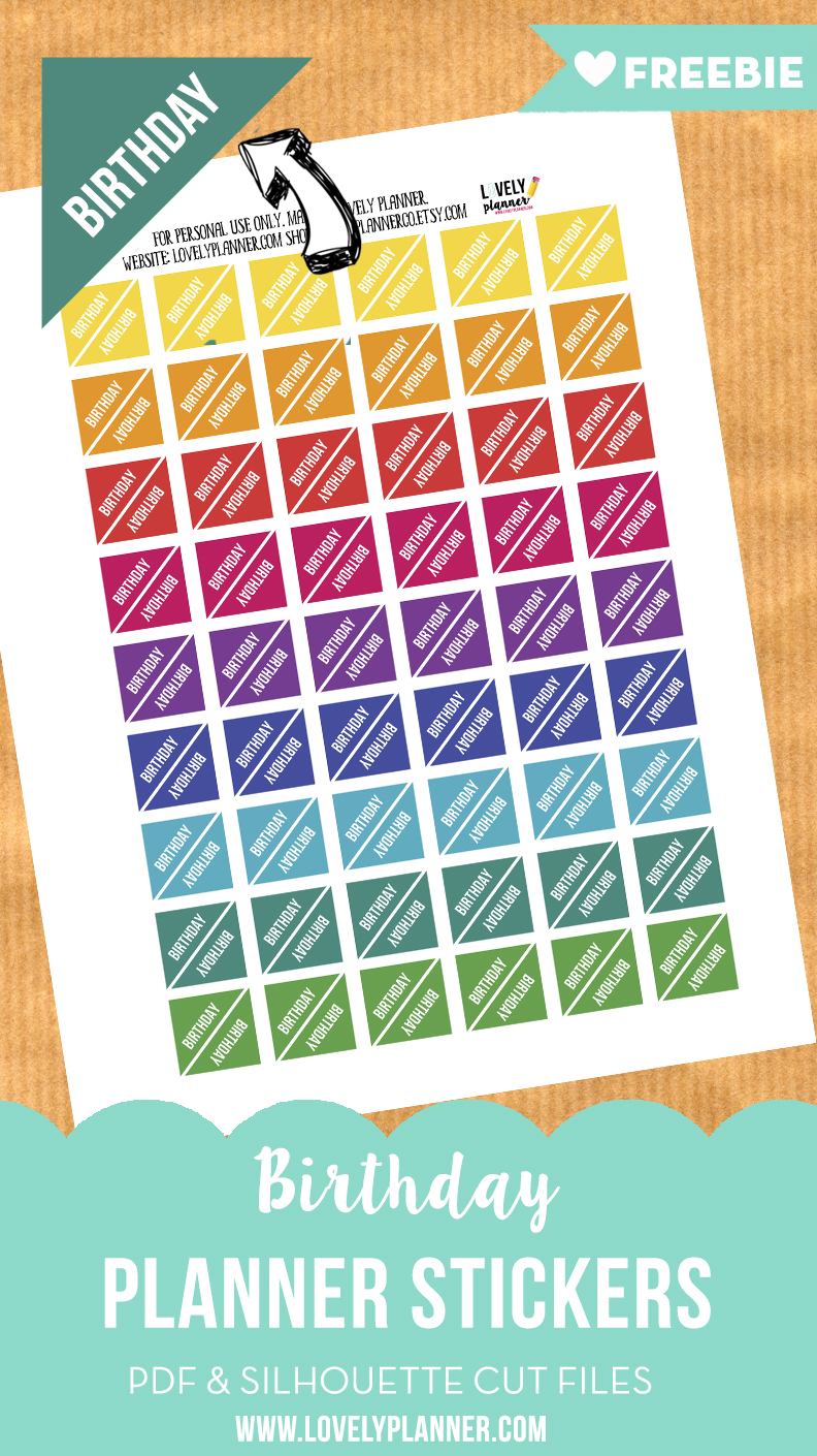 Free Functional Planner Stickers Birthday Corner Stickers Lovely