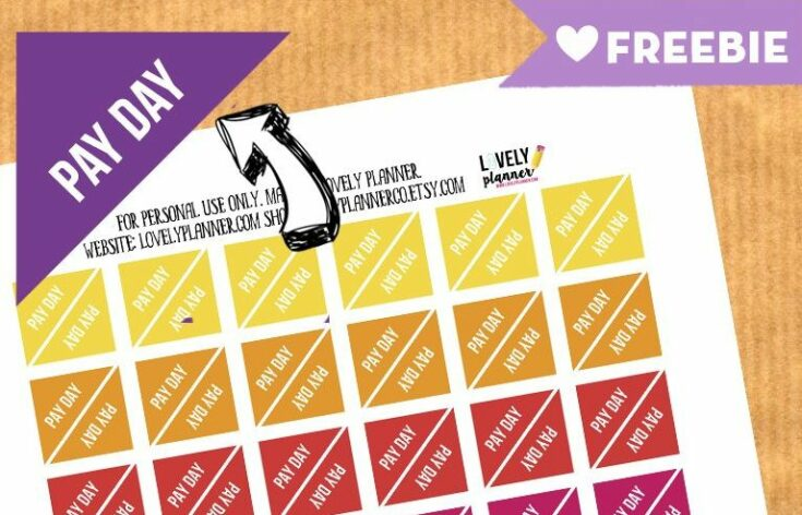 FREE Functional Planner Stickers : PAY DAY stickers