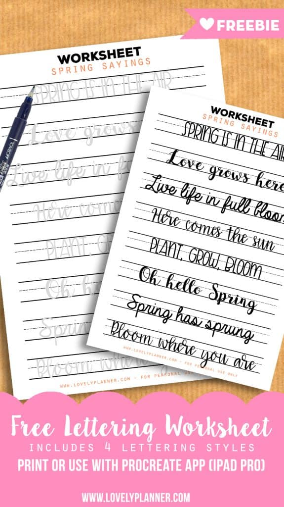 picture relating to Brush Lettering Practice Sheets Printable referred to as Absolutely free Lettering Educate Worksheets with Spring Sayings