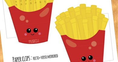 FREE French Fries and Hot Dog Calendar Divider + Paperclip