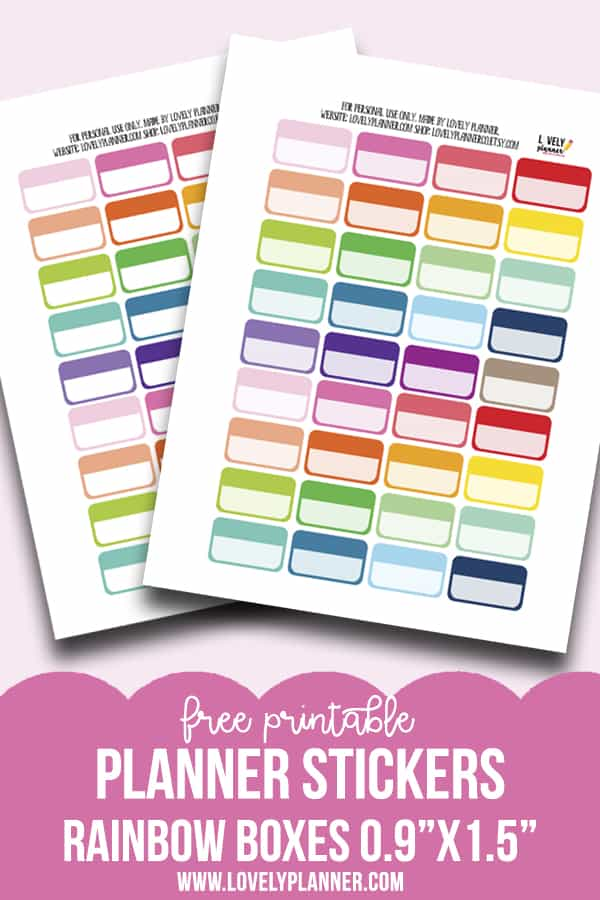 "Free Printable Functional Planner Stickers Boxes in rainbow colors - each sticker measures 0.9""x1.5"". Also get the matching free printables available. Compatible with most planner types: Happy Planner, Erin Condren..."