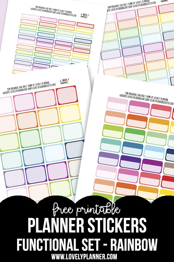 Free Printable Functional Planner Stickers - Rainbow colors