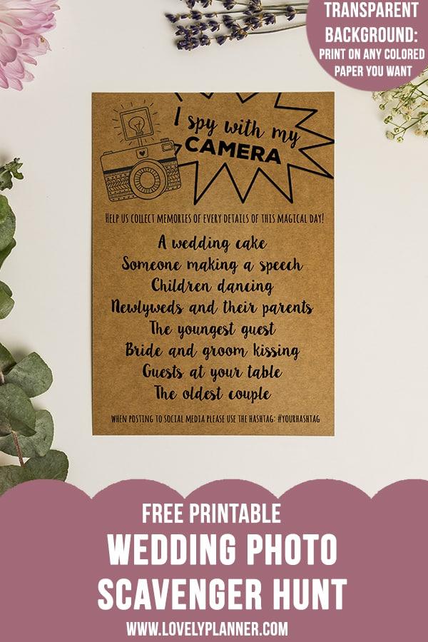 Free Printable Wedding Photo Scavenger Hunt