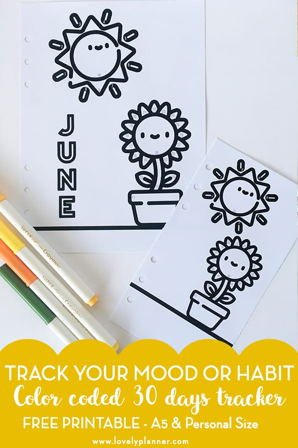 FREE Printable Bullet Journal Tracker with color code to track your mood or any of your habit each month. Add this kawaii printable in your planner (A5 and Personal) and see our explanations on how to use this tracker! #bulletjournal #planner #plannerprintable #freeplannerprintable #bujo #moodtracker #lovelyplanner