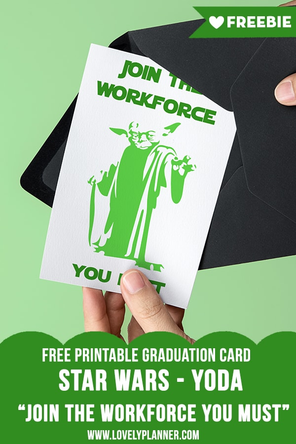 photograph regarding Yoda Printable called Cost-free Printable Star Wars Commencement Card - Yoda - Stunning Planner
