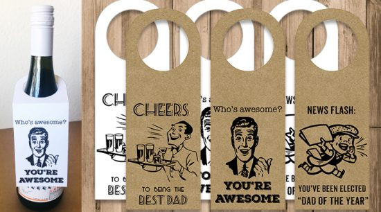 Retro Father's day Wine bottle gift Tags Free Printable