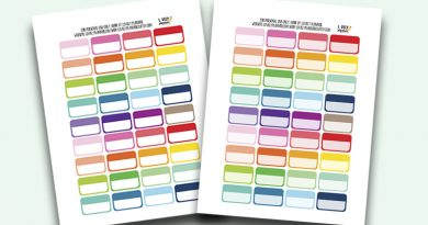 "Free Functional Planner Stickers Boxes 0.9""x1.5"" - Rainbow"