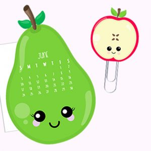 Free Pear and Apple Calendar Divider + Paperclip - June 2018
