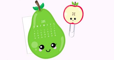 Free Pear and Apple Calendar Divider + Paperclip