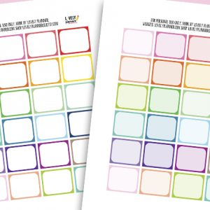 """Free Printable Half Box Planner Stickers in rainbow colors - each sticker measures 1.25""""x1.5"""". Also get the matching free printables available. Compatible with most planner types: Happy Planner, Erin Condren..."""