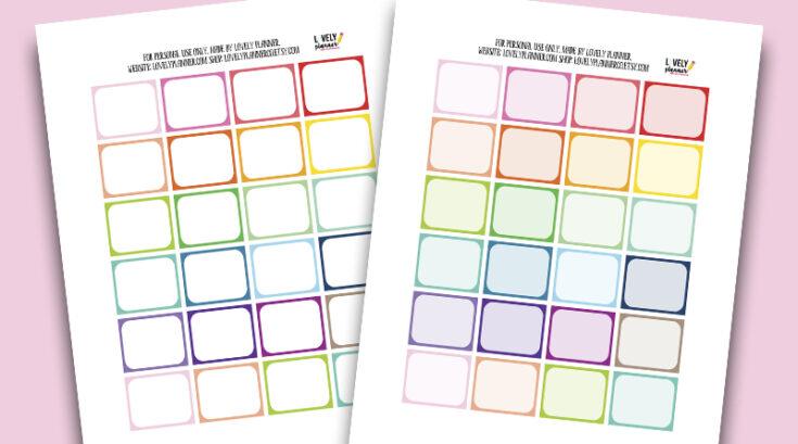 Free Half Box Planner Stickers - Rainbow