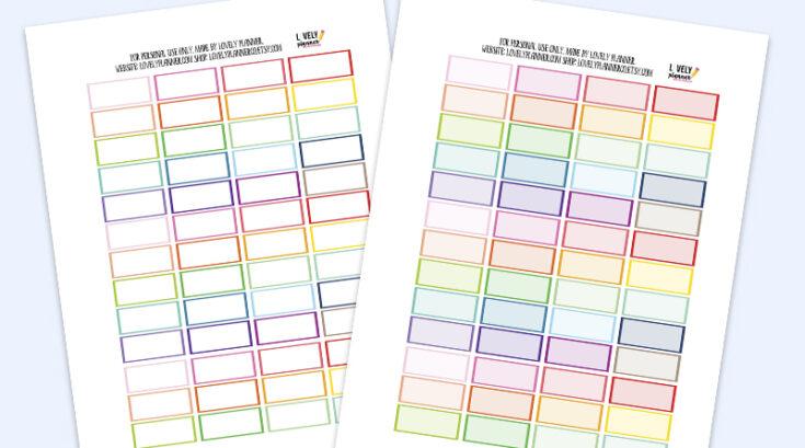 Free Functional Quarter Box Planner Stickers - Rainbow