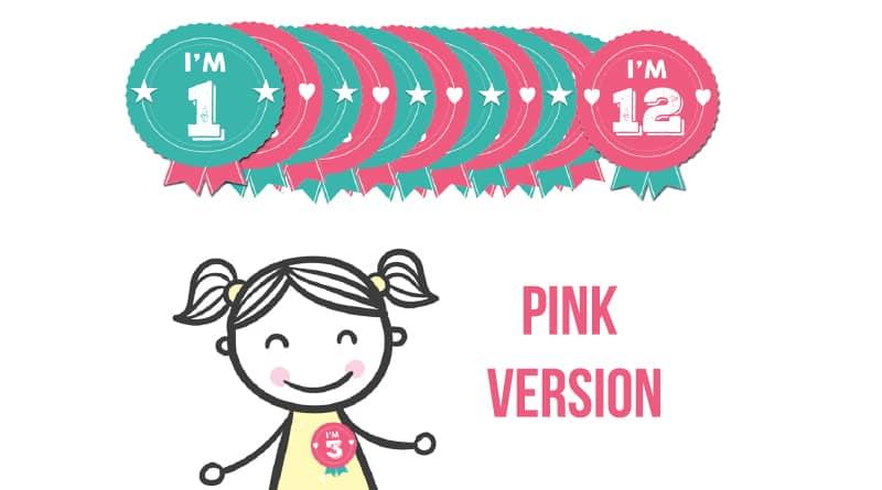 Free Printable Birthday Badges - Milestone Stickers PINK Version