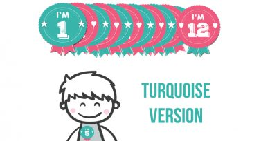 Free Printable Birthday Badges - Milestone Stickers TURQUOISE VERSION