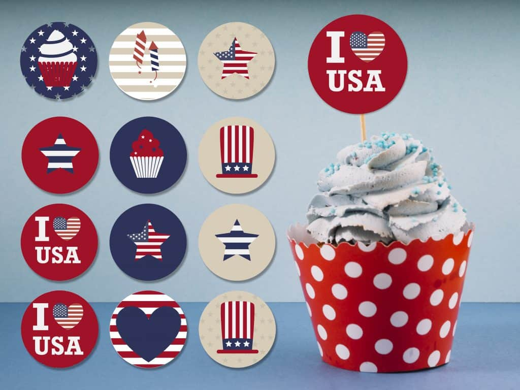 image relating to Printable Cupcakes identified as Cost-free Printable 4th of July Cupcake Toppers - Beautiful Planner