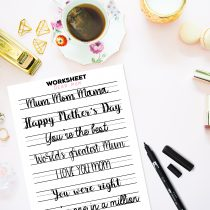 Free Download Lettering practice worksheet with traceable words and sayings for Mother's day! Printable PDF and JPEG for Procreate App users.