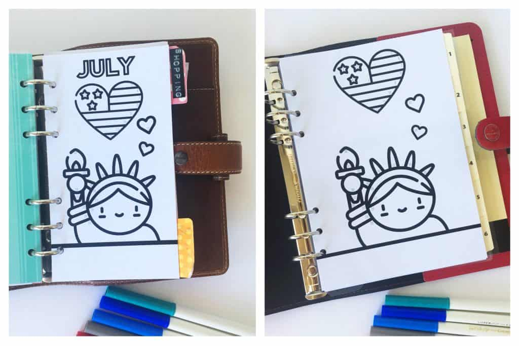 FREE Printable Bullet Journal Tracker with color code to track your mood or any of your habit each month. Add this 4th of July / Patriotic kawaii printable in your planner (A5 and Personal) and see our explanations on how to use this tracker! #bulletjournal #planner #plannerprintable #freeplannerprintable #bujo #moodtracker #lovelyplanner