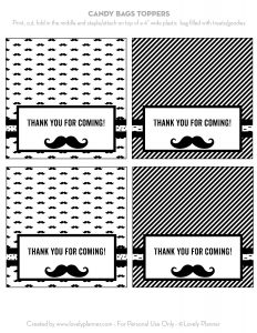 graphic regarding Free Printable Bag Toppers Templates known as Absolutely free Printable Mustache Social gathering Sweet Bag Toppers - Stunning Planner