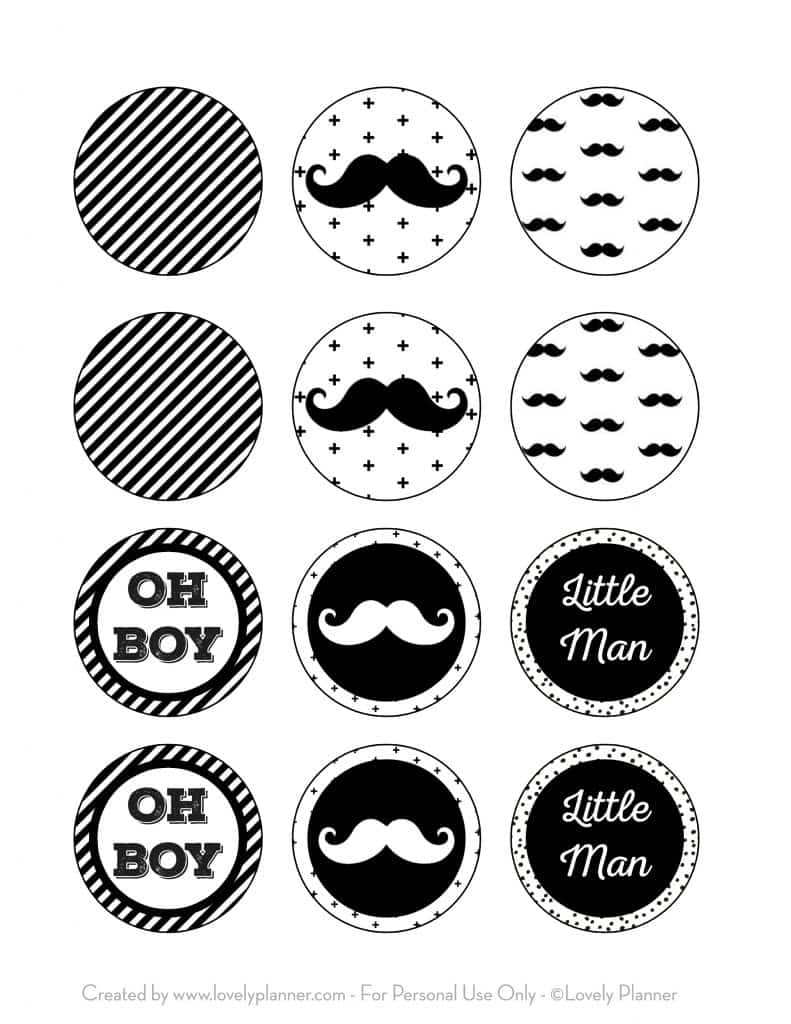 Free Printable Cupcake Toppers Mustache Party Little Man