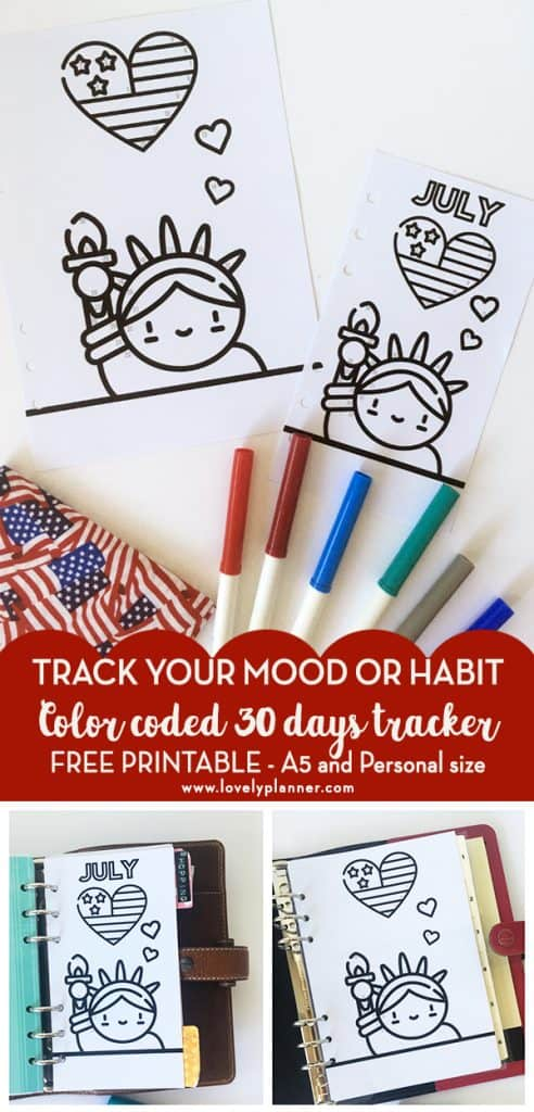 FREE Printable Bullet Journal Tracker with color code to track your mood or any of your habit each month. Add this 4th of july patriotic kawaii printable in your planner (A5 and Personal) and see our explanations on how to use this tracker! #bulletjournal #planner #plannerprintable #freeplannerprintable #bujo #moodtracker #lovelyplanner
