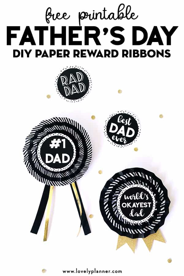 photograph regarding Printable Ribbon named Do it yourself Paper Award Ribbons for Fathers Working day - Free of charge PRINTABLE