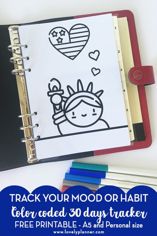 FREE Printable Patriotic 4th of july Bullet Journal Tracker with color code to track your mood or any of your habit each month. Add this kawaii printable in your planner (A5 and Personal) and see our explanations on how to use this tracker! #bulletjournal #planner #plannerprintable #freeplannerprintable #bujo #moodtracker #lovelyplanner