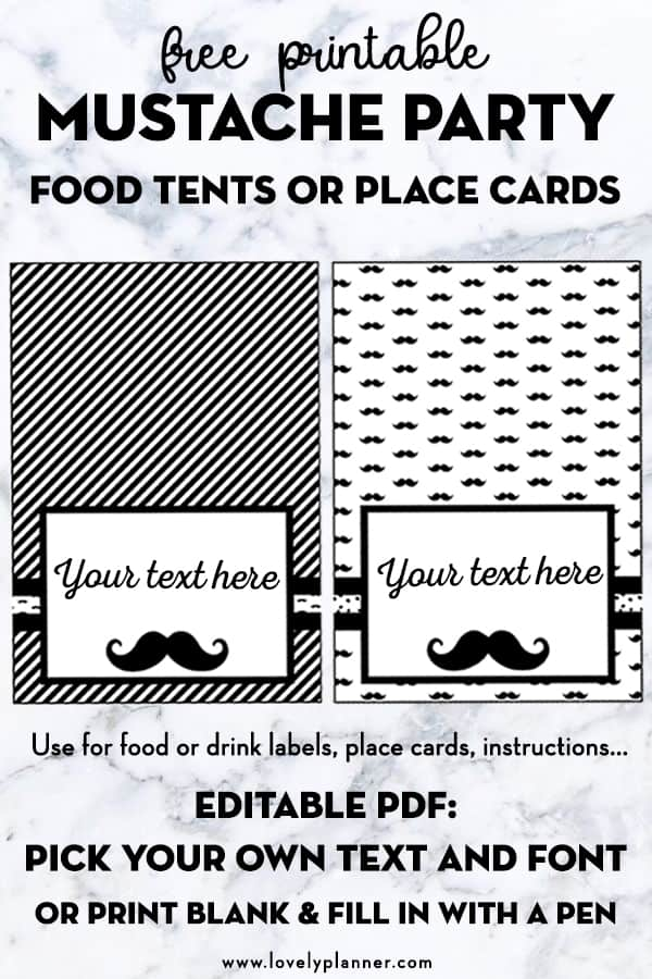 picture about Printables Food identify Mustache Get together Free of charge Printable Foods Tents or Vacation spot Playing cards