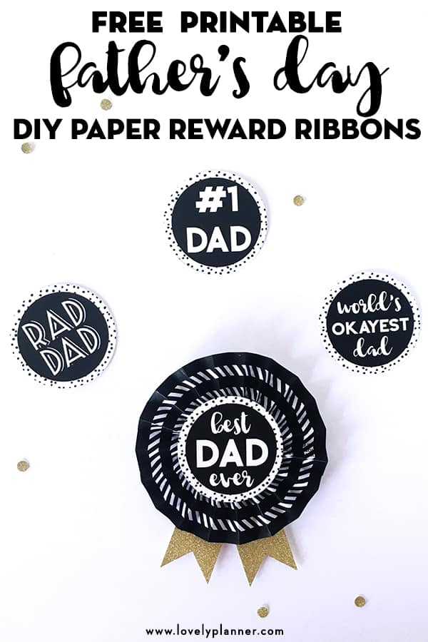 Free Printable Easy DIY Fathers Day Paper Reward Ribbons #kidscraft #papercraft #freeprintable #fathersday #rewardribbons