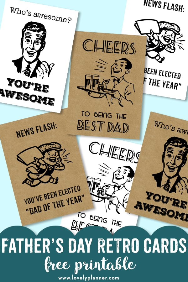 Free Printable Retro Cards for Father's day or any other day