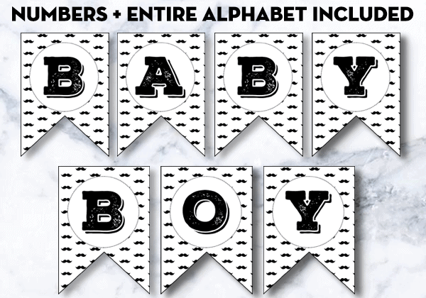 picture about Printable Letters and Numbers titled Mustache Alphabet Banner Totally free Printable Letters Figures
