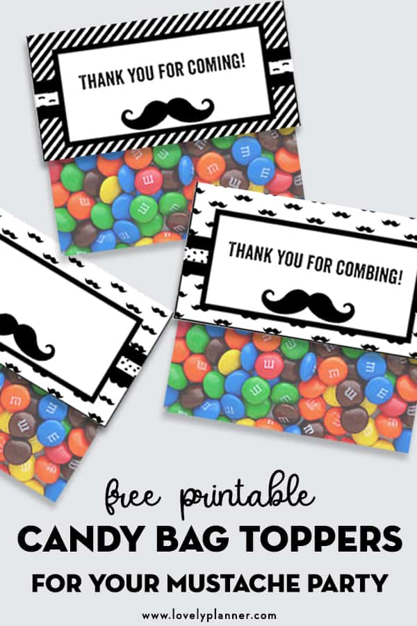 Free Printable Candy Bag Toppers for your Mustache Party. Also check out the many matching monochromatic free printables I created to help you throw an awesome Mustache Party Baby Shower, little man Birthday... #freeprintable #party #mustacheparty #candybagtoppers