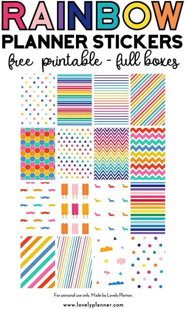 FREE Printable Rainbow Planner Stickers Full Boxes
