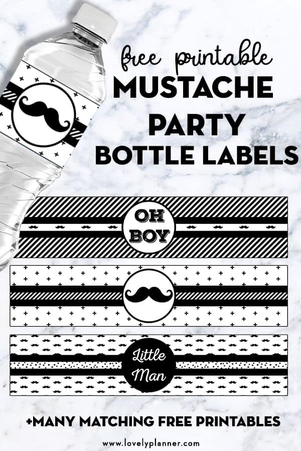 picture relating to Printable Bottle Labels named Mustache Celebration Bottle Labels - Free of charge Printable - Magnificent Planner
