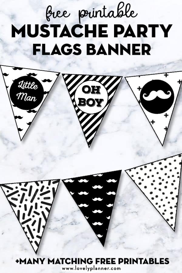 photo relating to Free Mustache Printable named Cost-free Printable Mustache Celebration Flags Banner - Beautiful Planner