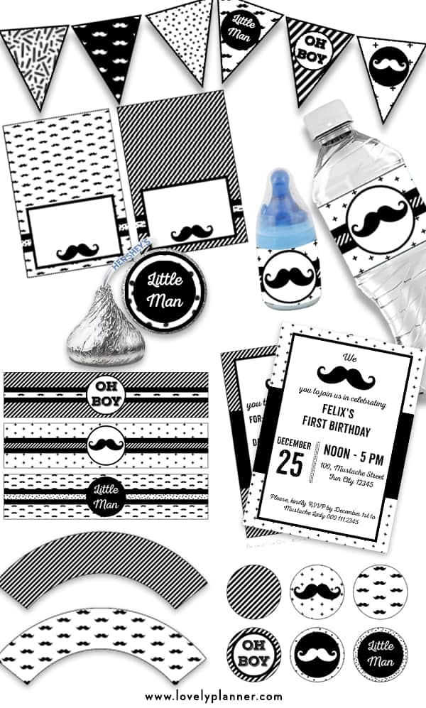 FREE Pack of 10 Printables to decorate your Mustache Birthday, Mustache Baby Shower or Party: alphabet banners, editable invitations, flag banners, cupcake wrappers and toppers, hershey kisses stickers, baby bottle pop labels, bottle labels, food tents, place cards, candy bag toppers... #freeprintable #mustacheparty #littleman #lovelyplanner #diy #boybabyshower